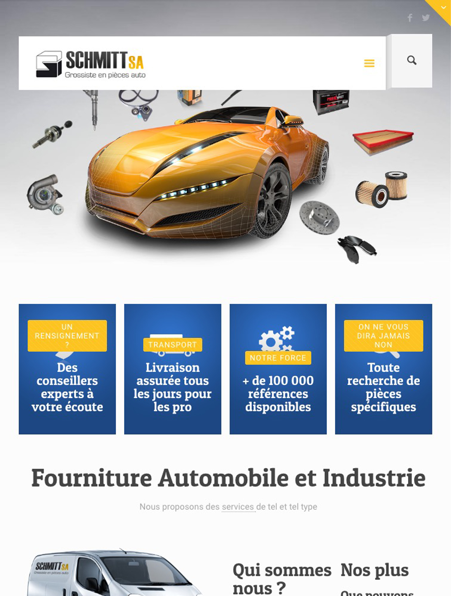 site internet pièce automobile version tablette responsive agence web